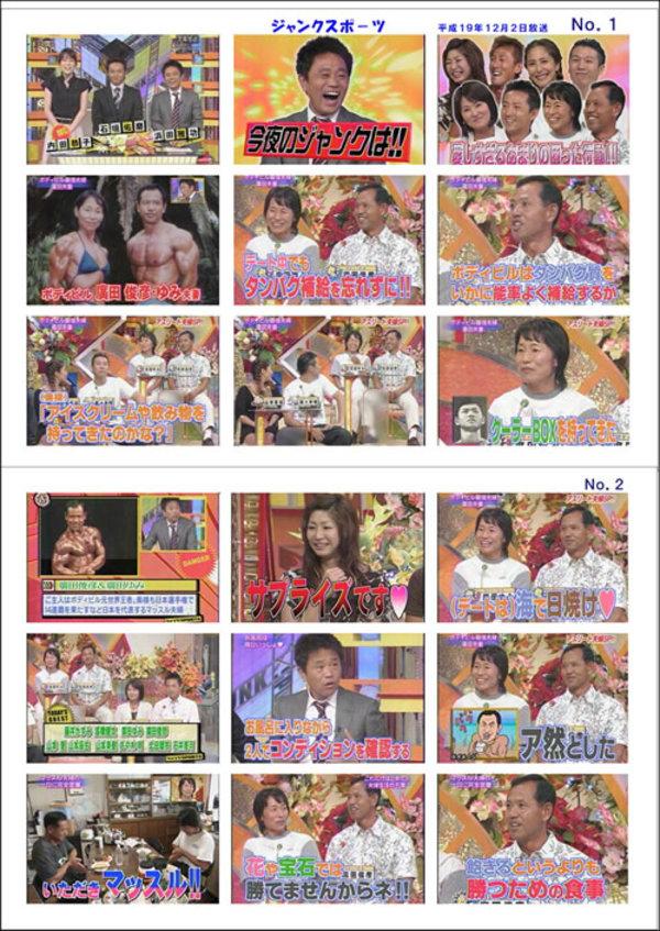 フジTV・ジャンクSPORTS「アスリート夫婦」2007年12月02日(日)放送